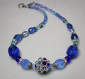 Azure Comet - Blue Vintage Faceted Glass and Crystal Necklace