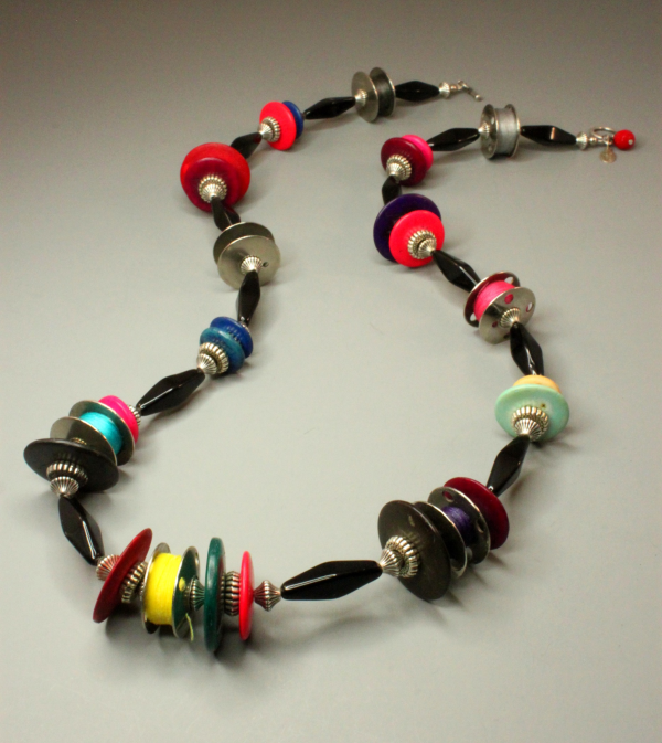 Abacus - Vintage Bobbin and Coconut Shell Necklace
